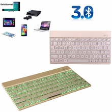 Hot!! Ultra slim Wireless KEYBOARD Bluetooth 3.0 with 7 colors LED back light for IPAD/Iphone/Mac/LAPTOP /DESKTOP PC/ TABLET