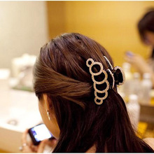Large 6 Circles Crystal Hair Clips Beautiful Girls Stones Hairpins Crab Claws Jaw Clamp Hair Jewelry for Women Black Brown1610(China)