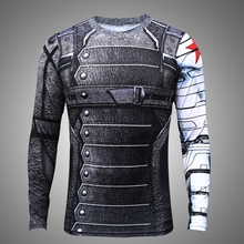 S-4XL Plus size Stock shirt!Captain America 3 Winter soldier 3D print Top Quick dry Spandex Train Jersey cosplay Sweatshirt Pull