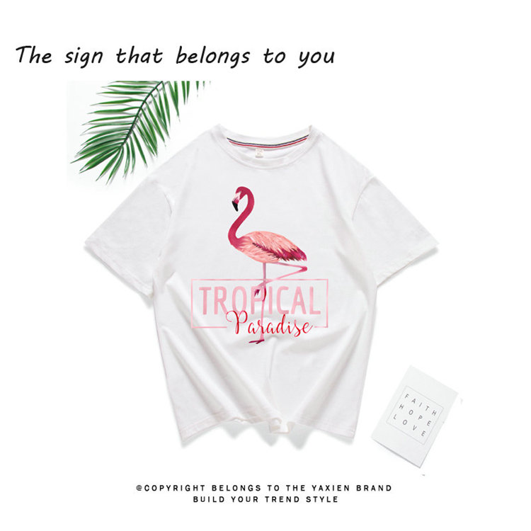2018 Fashion Women T-shirt Summer Flamingos Tops Tees Ladies Tshirt Tropical Leer T-shirt Female Short Sleeve Poleras Mujer  (2)