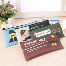 Retro Cute Stationery Mr Moustache Pencil Case Pencil Bag Student's Gifts School Office Supplies Storage Bag Escolar Papelaria(China)