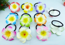 Wholesale 20 dia flower hair jewelry hair ribbons foam hawaiian plumeria flower elastic Hawaiian frangipani hair band hair rope(China)