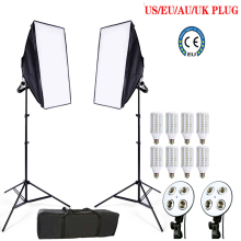8pcs 24w LED E27 Bulb Photo stuido Soft Box set video lighting kit flash softbox reflector material 2ps softbox 2ps light stands