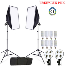 8pcs 24w LED E27 Bulb Photo stuido Soft Box set video lighting kit flash softbox reflector material 2ps softbox 2ps light stands(China)