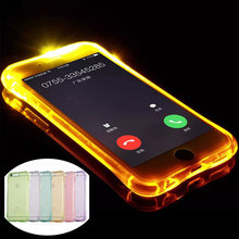 LED Flash Lighting Up Phone Case for Apple iPhone 5 S 5S SE 6 7 6S 7 Plus Remind Incoming Call Light Soft TPU Transparent Cover