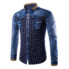 New Fashion Jeans Patchwork Mens Shirt Plaid Style Long Sleeve Korean Slim Fit Denim Shirts Male Brand Clothing chemise homme