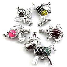 21626 Dragon Frog Horse Aromatherapy Pearl/Bead Cage Floating Locket Charm Perfume Diffuser Pendant Men Unisex Jewelry 5pcs