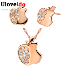 African Beads Jewelry Set Rose Gold Color Necklace Crystal Bijoux Jewelry Sets Silver Color Charms Stud Earrings Uloveido T195