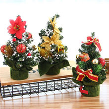 Christmas Tree Flower Desk Table Decors Gold Red Festival Party Ornaments Xmas Gift Christmas Trees(China)