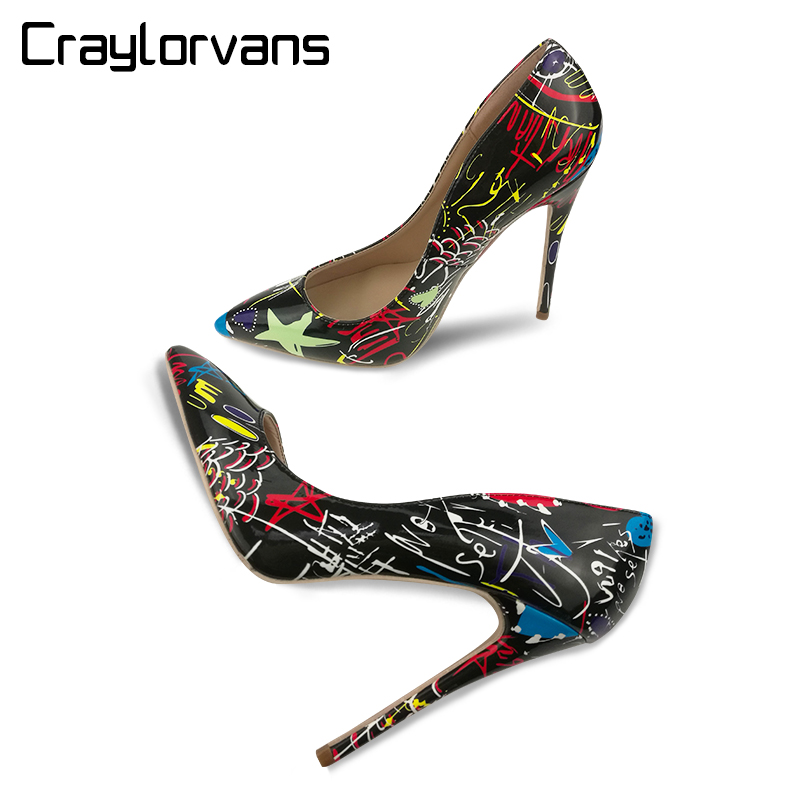 Craylorvans 2018 Special Graffiti Colorful Women Pumps Sexy Women High Heels Spring Wedding Party Women Shoes sapato feminino <br>
