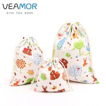 VEAMOR Lovely Animals Squirrel Gift Pouch Cotton Drawstring Bags Pouch Gift Candy Bags Small Soft Storage Bags 3pcs/set WB150(China)