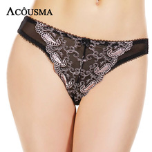 Buy ACOUSMA Women Sexy Panties Seamless G-String T thongs Panty Floral Embroidery Lace Underwear Hollow Breathable Lingerie
