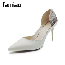 FAMIAO New 2017 Spring Autumn Women Pumps Sexy Black Gold Silver High Heels Shoes Fashion Luxury Rhinestone Wedding Party Shoes(China)