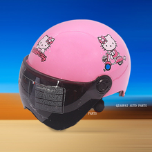 Pink kitty cartoon motocross motorcycle helmet scooter motorbike outdoor safety helmets visor header cap summer bright type