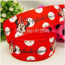 FREE SHIPPING hot sale 25mm Mickey Mouse Printed Grosgrain Ribbon, Clothing accessories, DIY handmade materials,MD52932