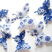 12Pc Blue White Butterflies Wall Sticker 3D Wallpaper Mural Art Vinyl Wall Decals Home Decoration Kids Room Living Wall Stickers