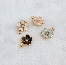 10pcs Gold Tone color colorful Oil Drop Flower charm , 12*16mm Gold color Enamel Peach Flower pendant For DIY Jewelry Making