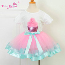 Birthday Tutu Outfit Includes Top T-shirt Pink Aqua Blue Ruffled Tutu Skirt Baby Girl Clothes Girls Clothing Sets(China)