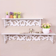 Wall Hanging Shelf Goods Convenient Rack Storage Holder Home Bedroom Decoration wood wall shelf racks White :46*9cm