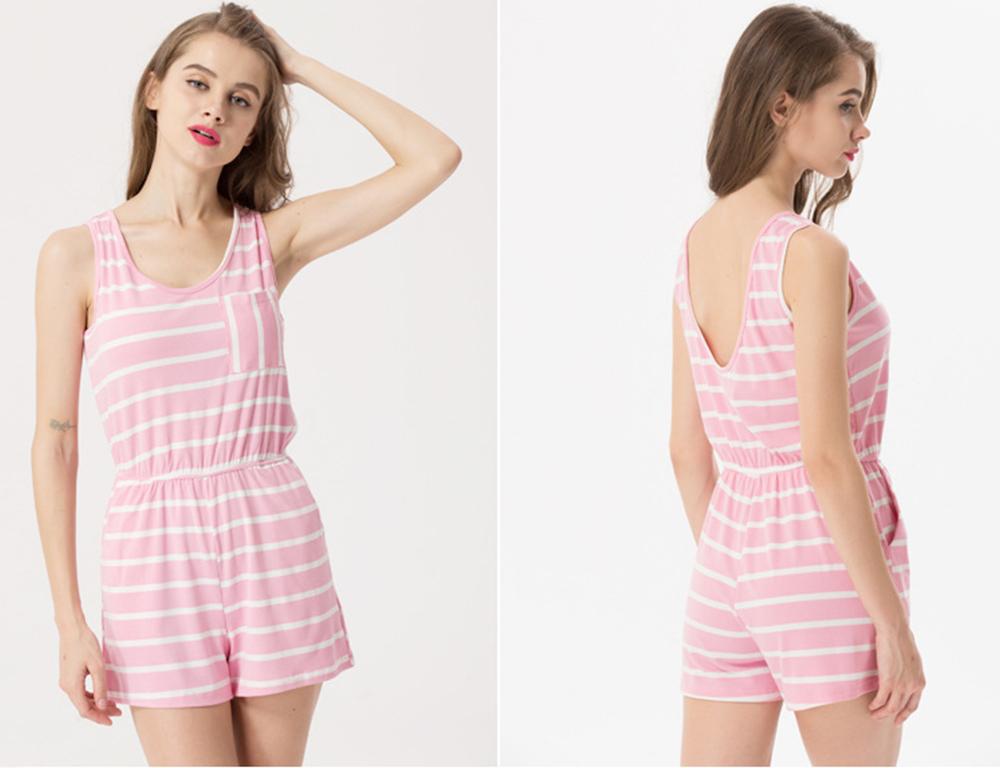 Siskakia mody młodzieżowej Letnie nastolatek dziewczyny Playsuit Przebrania paski patchwork slim fit krótkie elegancki 100% bawełna odzież różowy 25