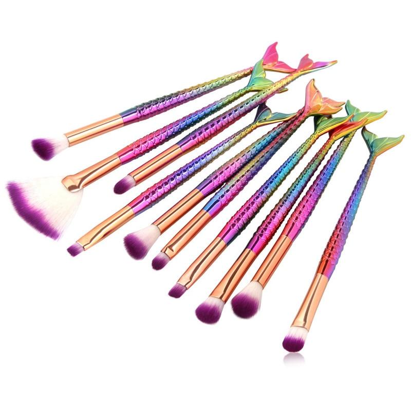 Mermaid Shaped Makeup Brushes Set 10pcs Fishtail Foundation Powder Eyeshadow Eysbrow Blusher Contour Blend Cosmetic Brushes Kit 13