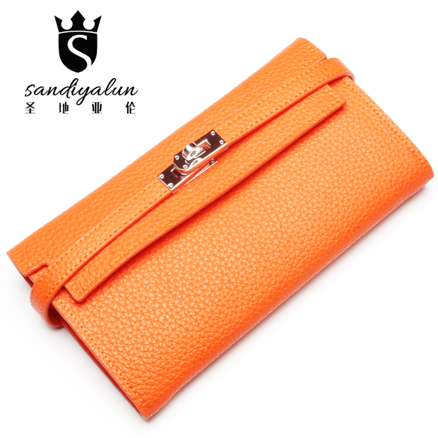 New Fashion Brand Genuine Leather Women Wallet Long Purse Cowhide Female Casual Clutch Wallet Ladies Purse With Card Holder<br>