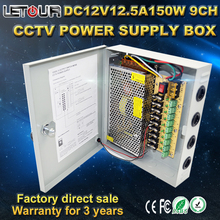 9CH DC 12V 12.5A 150W CCTV Power Box Monitor Power Box Centralized Power Supply Lightning Protection for Monitor,Led Strip,DVR