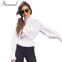 Buy Simenual 2018 New turtleneck tops women blouses fashion slim lantern long sleeve white blusas ruffles solid female blouse shirt for $10.89 in AliExpress store