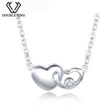 "DOUBLE-R Real 0.01ct Diamond Necklaces Women 925 Sterling Silver 18"" Chain Heart Pendant Romantic Christmas Gift Brand Jewelry(China)"