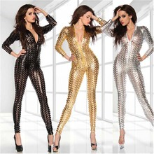 Plus size black/gold/silver sexy long sleeve tight bodycon leather catsuit XXL latex hollow out nightclub skinny playsuit zipper(China)