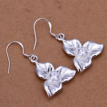 IE265 Wholesale 5-Pcs Lot Fashion Silver Crystal Lucky 3 Leaf Clover Flower Earrings Women Jewellery Items Hot Earring Bijoux(China)