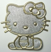Golden Hello Kitty Iron On Patches applique Clothes T Shirt Hat Jean shoes Jacket Pet Clothing Silvery Gifts