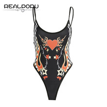 Realpopu 2017 Summer Straps Black Hot Sexy Bodysuit Printed Fitness Tight Backless Sleeveless Beach Romper Women Jumpsuit Pic(China)