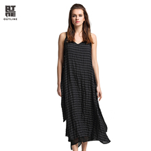 Outline Summer Sleeveless Linen Dress Casual Striped Spaghetti Strap Vestidos V-neck Sashes Plus Size Long Beach Dress L172Y035