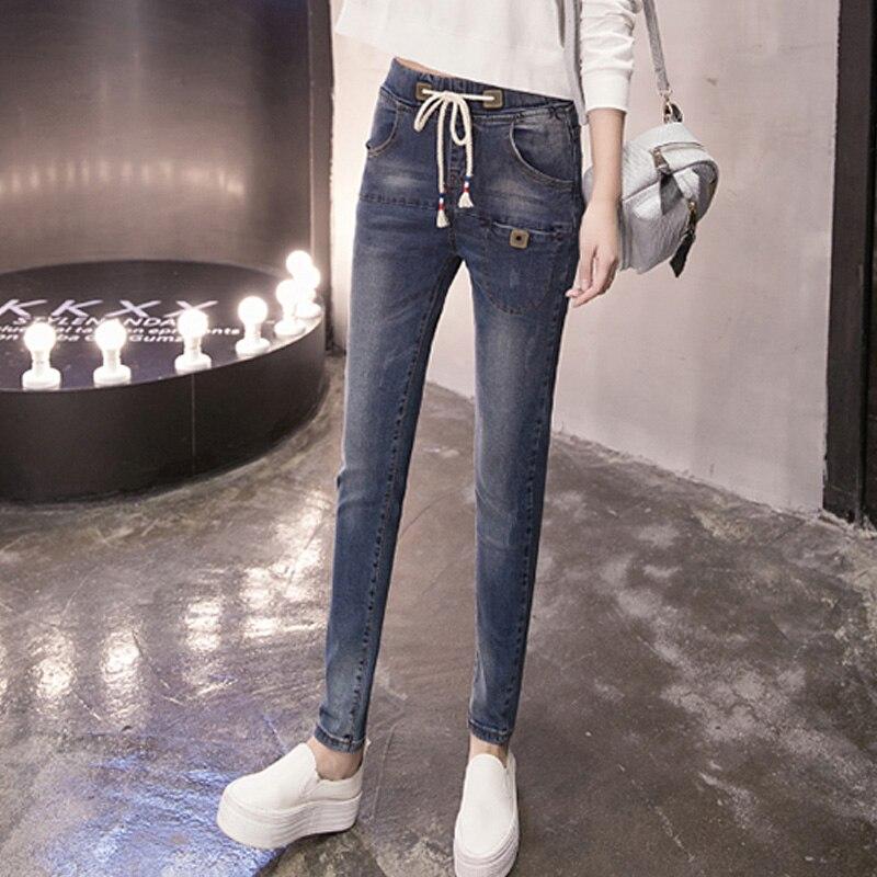 2017 Fashion Autumn Mid Waist Jeans Woman Female elastic waist Slim Denim Pants Pencil Vintage Skinny Jeans For Women TrousersОдежда и ак�е��уары<br><br><br>Aliexpress