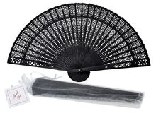 "[ Fly Eagle ] 8"" Black Letras Madera 2015 Vintage Chinese/japanese Style Hollow Folding Bamboo Wooden Carved Hand Fan(China)"