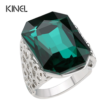 Green Glass Big Rings For Women Unique Punk Rock Color Silver Engagement Ring Vintage Women Jewelry