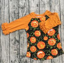 Custom Halloween orange color ruffle T Shirt china suppliers baby clothes Pumpkin lantern Printed icing raglan Shirts