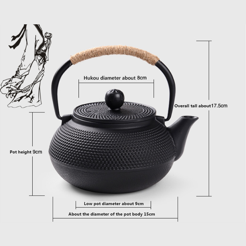 Southern Cast iron kettle old iron pot shells tea pots health boiler scale iron pot 800ml 6