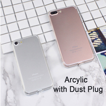 Newest Soft Transparent TPU + Full Clear Acrylic Case Cover Skin Shell for iPhone 7 6 6S Plus SE 5 5S With Dust Plug 50pcs/lot