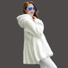 Winter Warm and Thick Woman Artificial Fur Coat Rabbit Hooded Long Mink Coat For Sale, Black Woman Fur Coat Winter plus size