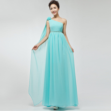 elegant long spring formal women's robes soiree beaded one shoulder floor length evening dresses gowns 2017 chiffon dress H1796
