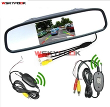 "2in1 Auto Parktronic System 4.3""  Car Rearview Mirror + 2.4Ghz Wireless Video Transmitter and Receiver Kit for Rear View Camera"