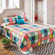 Bed sheet flat sheet 100% cotton sheets for home twin full queen king size bedsheet plaid flowers pink white blue yellow bedding(China)