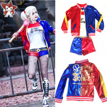 Suicide Squad Harley Quinn Cosplay Costume Girls Kids Children Christmas Halloween JOKER Costume Jacket T-shirt Shorts Suit Set
