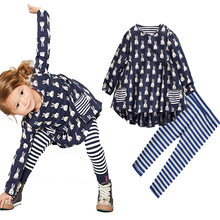 Rabbit baby girl clothing sets Bunny Printed baby girl clothes Spring style Long Sleeve dress + Striped Pants girl roupa infanti