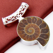 Big Sale ! Perfect Ammonite Fossil Silver Plated Pendants 100%hand Made Classical Jewelry P1137 Free Shipping(China)