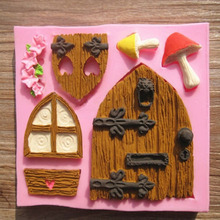 Home Kitchen Silicone 3D Fairy House Door Cake Mold Chocolate Mould Baking Mold Cake Decorating Supplies Wholesale(China)