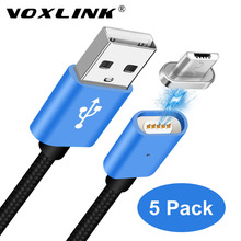 5Pack VOXLINK 2.4A LED Magnetic Cable 1M Micro USB Cable Magnet Fast Charging Data Cable Samsung S6 Huawei P8 Xiaomi 4X