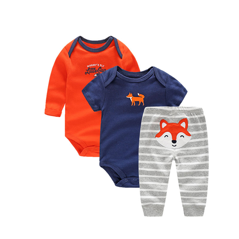 Newborn Baby Clothes Fox Print Infant Romper+Pants 3 Pcs Baby Boy Clothes Toddler Costume 2017 Spring Cotton Baby Boy Romper<br><br>Aliexpress